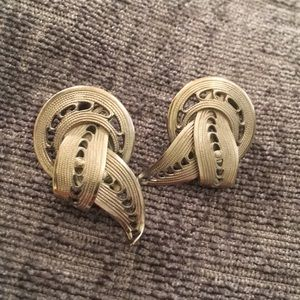 Kramer vintage metalwork pewter clip earrings